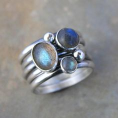 Stacking Rings Labradorite Sterling Silver Set of 5 by KiraFerrer