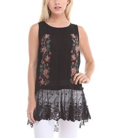 Loving this Black Lace-Trim Top on #zulily! #zulilyfinds
