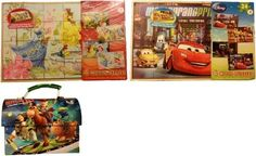 Disney's Cars 4 Wooden Puzzles, Disney's Princess And Fairies 4 Wooden Puzzles, Toy Story Tin Lunch Box (Blue200):Amazon:Toys & Games