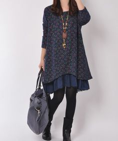 Dark blue cotton dress long sleeve dress casual loose dress layered dress cotton shirt large size cotton blouse plus size dress