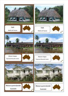 cartes nomenclature habitats Océanie fichier PDF complet des habitations du monde entier ici : http://activitesmaison.com/2015/06/06/voici-mes-cartes-de-nomenclatures-montessori-sur-les-habitations-du-monde/