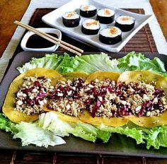 Carpaccio di lupino con quinoa croccante radicchio rosso e mandorle - vegan sushi -