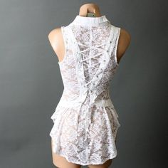 White Victorian Steampunk Lace High Neck Sleeveless ...