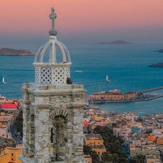 """Ano Syros -known as the """"Catholic quarter""""- on the top of the hill provides a spectacular view of Ermoupoli and its port! Air France, Places Around The World, Around The Worlds, Syros Greece, Places In Greece, Greek Isles, Greece Islands, Greece Travel, Island Life"""