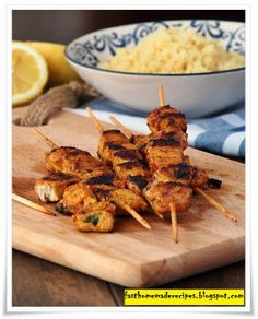 Easy & Fast Lemon Marinated Chicken Skewers Recipe skewer recip, chicken skewer, lemon marin
