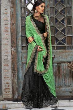 Black Wedding Designer Embroidered Saree