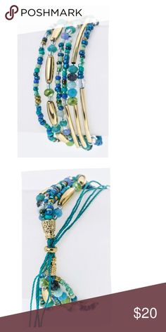 """Just In! Mix Beads Layered Draw String Bracelet 1"""" Wide, New with Tags Jewelry Bracelets"""