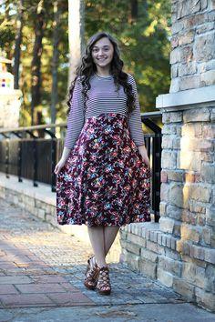 Alaina Striped/Floral Dress  (Navy)