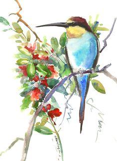 Birds and Flowers, Bee Eater, bird art, bird painting, bird wall art, watercolor birds, bee eater art, european bird, birds of europe by ORIGINALONLY on Etsy