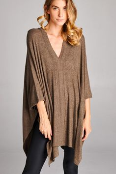 ribbed double v neck sweater poncho tunic (more colors)