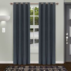 Superior Shimmer Insulated Thermal Blackout Grommet Curtain Panel Pair (52X96 - Deep Gulf), Grey, Size 96 Inches