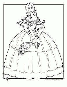 Victorian Doll With Flowers Coloring Page