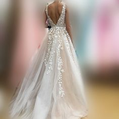 Gorgeous A-line Long Wedding Dress Prom Dress - Thumbnail 2