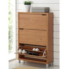 Nice! Baxton Studio Simms Modern Shoe Cabinet in maple - Beyond the Rack