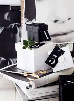 beautiful black and white gift wrap