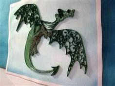 Quilled Animals on the board where i got this......................Quilled Dragon - What a cute idea!