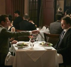 Gabriel Macht and Patrick J. Adams in Suits ******Dinner was on Mike