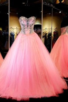 Ball Gown Prom Dresses,  Pink Formal Dresses, Sweetheart Tulle Party Dresses, Modest Long Quinceanera Dresses, Simple Graduation Gowns