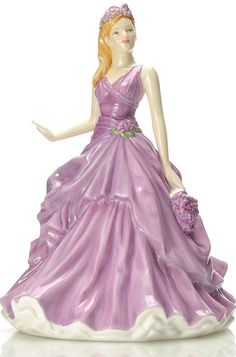 "Royal Doulton PRETTY LADIES ""FEBRUARY - VIOLET"" FLOWER OF MONTH FIGURINE New http://www.ebay.com/"