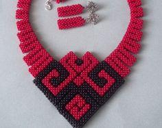 Geometric jewelry Beadwoven necklace Beadwoven earrings Bracelet Beaded necklace Red jewelry set