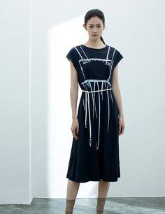 Blue Printed Lacing Short Sleeve Knee Length Pullover Shift Dress