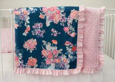 Pink, Coral, Purple, Navy Blue Floral Baby Crib Cot Blanket with Optional Name Embroidery