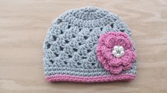 Newborn Girl Beanie, Crochet Flower Hat, Baby Girl Clothes, Baby Girl Photo Prop, Toddler Flower Hat, Baby Skull Cap, Spring Hat, Pink, Grey by TheFlyButterFactory on Etsy