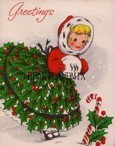Vintage Christmas Girl with Muff by Vintage Christmas Images, Old Christmas, Old Fashioned Christmas, Christmas Scenes, Retro Christmas, Vintage Holiday, Christmas Pictures, Christmas Crafts, Christmas Decorations