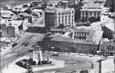 Ulus meydanı ve Taşhan - arkada İş Bankası Ankara, Istanbul Turkey, Old City, Old Pictures, Once Upon A Time, Paris Skyline, Nostalgia, Street View, Black And White