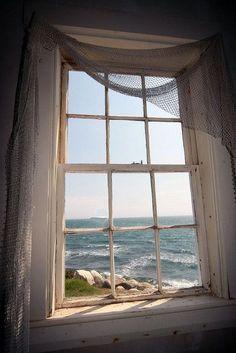 bluepueblo: Lighthouse Window, Cape Cod, Massachusetts photo via jules Cottages By The Sea, Beach Cottages, Window View, Side Window, Through The Window, Coastal Living, Windows And Doors, Big Windows, Belle Photo