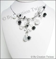 black, white, necklace, wire work necklace, bridesmaids necklace, delicate necklace, bridesmaids gift, funky jewelry, stainless steel wire - LoveItSoMuch.com