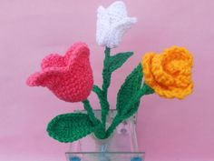 """""""This Crochet Flower Bouquet is a perfect way to brighten up your home or make your own crochet easter decorations."""""""