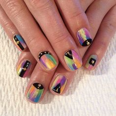 Rainbow nails by Mia Rubie #superflynails. Click through to learn more about the nail artist. #nailart #nailpro