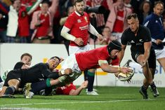 Sean O'Brien dives over to complete a sensational running try by the British and Irish Lio. British And Irish Lions, Auckland, Rugby, New Zealand, Tours, Running, Keep Running, Why I Run, Football