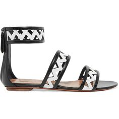 Alaïa Two-tone laser-cut leather sandals found on Polyvore featuring shoes, sandals, two-tone shoes, black white shoes, zip shoes, genuine leather shoes and black and white shoes