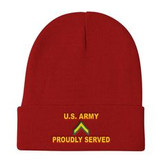 84b3484c51c US Army E-2 Private Second Class E2 PV2 Enlisted Soldier Proudly Served  Embroidered Knit Beanie Hats