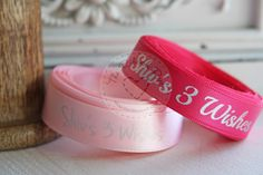 Personalised ribbon printed with 'Shiv's 3 Wishes' on pink and fuchsia satin with metallic silver foil - such a great charity raising awareness and funds
