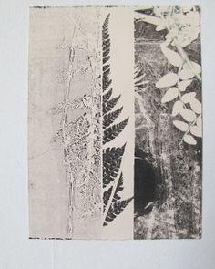 Small original fine art botanical monoprint. Modern minimal nature print on cream paper. Influenced by vintage Japanese art.