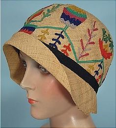 1928 straw cloche with embroidery and 2 part crown