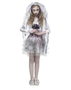 Zombie Bride Girls Costume exclusively at Spirit Halloween - Walk down the aisle like a zombie when you don this tattered and blood-stained Zombie Bride girls costume.  The layered skirt and bedraggled veil make it looks as though you have been through unimaginably awful events - create your own back story Halloween. Walk down the dead aisle in this for $36.99.