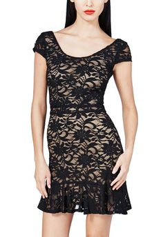 Lace Ruffle-Hem Dress in Black- Get great deals at JustFab
