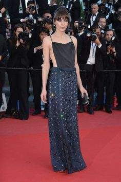 For Cannes Film Festival 2013 Milla Jovovich chose an embellished midnight blue gown. Way to go!