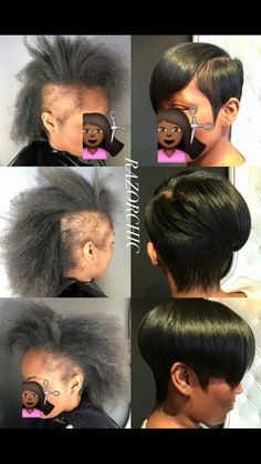 Nice style i need hair right & left tempal👌👌👌♥️⚘ Short African Hairstyles, Short Black Haircuts, Short Weave Hairstyles, Natural Afro Hairstyles, Mohawk Hairstyles, Short Hair Cuts, Natural Hair Styles, Short Hair Styles, Long Braids