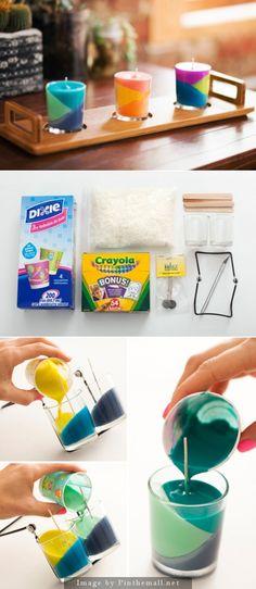 DIY Multi Tiered Crayon Candles Tutorial.