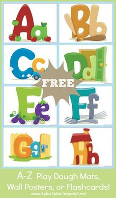 Free Alphabet Printables, Play Doh Mats, Wall Posters, Flashcards, etc Early Learning, Fun Learning, Learning Activities, Activities For Kids, Alphabet Phonics, Alphabet Crafts, Alphabet Books, Alphabet Posters, Preschool Literacy