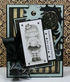 Wow, just wow. Loretta used Steampunk Lizzie, a Whimsie Doodles digital image, for this card and her coloring with Warm Gray COPIC markers makes it look like a pencil sketch. Amazing