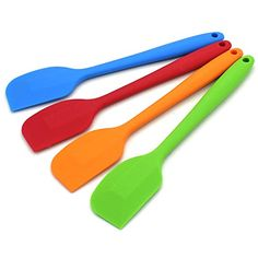 Zicome 11 Inch Long Colorful Silicone Spatula Set of 4 OnePiece Design Blue Red Orange Green * Be sure to check out this awesome product-affiliate link.