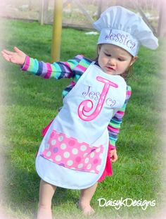 541b831f303 Personalized Child s Apron and Chef Hat Set - Choose Your Colors and Fabrics
