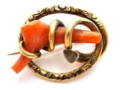 Gold & Coral Brooch, Victorian