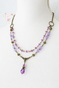 Unique vintage inspired purple necklace #purple #jewelry #layered #necklace Purple Necklace, Purple Jewelry, Beaded Necklace, Unique Gifts, Handmade Gifts, Layered Necklace, Unique Vintage, Vintage Inspired, Vintage Fashion